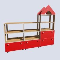 Стеллаж для игрушек с 4-мя выкатными ящиками