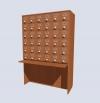 Шкаф картотечный на 30 ящиков, фасад ЛДСП + металлический стержень
