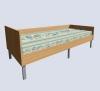 Кровать односпальная с панелью и с пружинным матрацем
