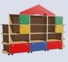 Стенка прямая с цветными дверцами и выкатными ящиками